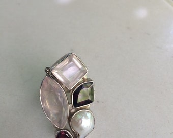 Modern Ring Silver 925 with Water Pearl, Pink Quartz and Garnet