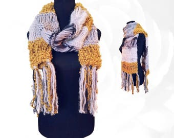 Knit Scarf, Gold Scarf, Yellow Scarf, White Scarf, Gray Scarf, Black Scarf, Colorful Scarf, Fuzzy Scarf, Winter Scarf, Boho Scarf, Warm Wrap