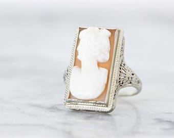 SALE Antique Cameo Ring | Art Deco Ring | 14k White Gold Cocktail Ring | Edwardian Ring | 1920s Filigree Ring | Statement Ring | Size 5.75