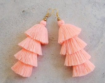 Handmade Light Orange Four Tier Tassel Earrings
