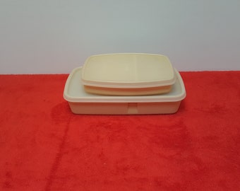 Vintage tupperware divided packette container sets with lids / lunch containers /  tupperware #813  #814 and #1284 #1285