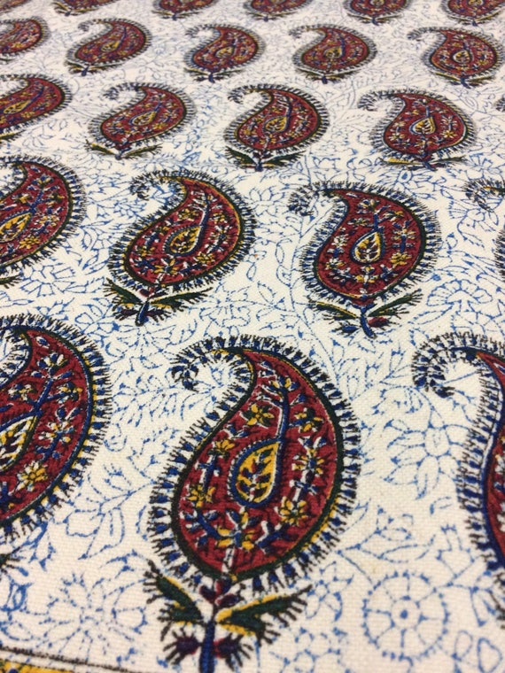 """Hand printed 78"""" x 52""""inches rectangle tablecloth , traditional block printed red paisley Tapestry or bedspread - natural dyes with tassels"""