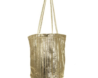 Inspired Gold Pleated Bucket Bag
