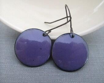 Enameled Earrings, Enameled Copper, Silver Earrings, Round Purple, Geometric Jewelry, Oxidized Silver, Silver Jewelry