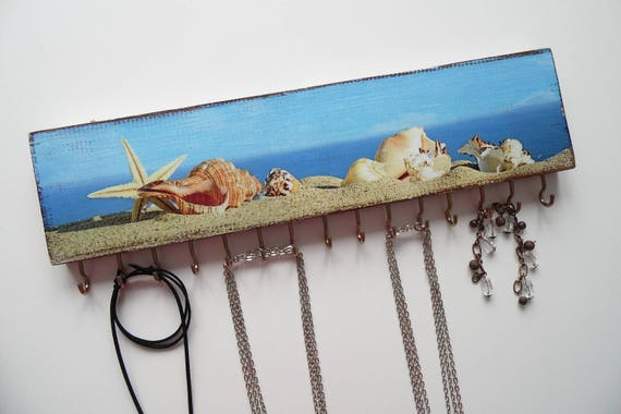 Nautical jewelry holder wall wood necklace organizer blue