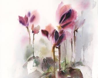 Cyclamens Original Watercolor Painting, Abstract realism Botanical Painting, Watercolor painting of Flowers
