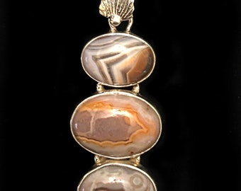 Laguna Lace Agate 925 Sterling Silver Pendant and Chain