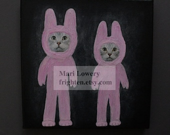 Mixed Media Collage on Canvas, Cat Art, Pink and Black Bunny Art, One of a Kind 8x8 Inch Unique Wall Decor, frighten
