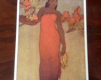 "Vintage John Melville Kelly Matson Lines Menu Cover - ""Healani Hawaii"" - Made in USA - 1940's"