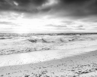 Black and White Print, Black and White Ocean Photography, Landscape Photography, Windansea Beach, Storm, Black and White Beach, Wall Decor