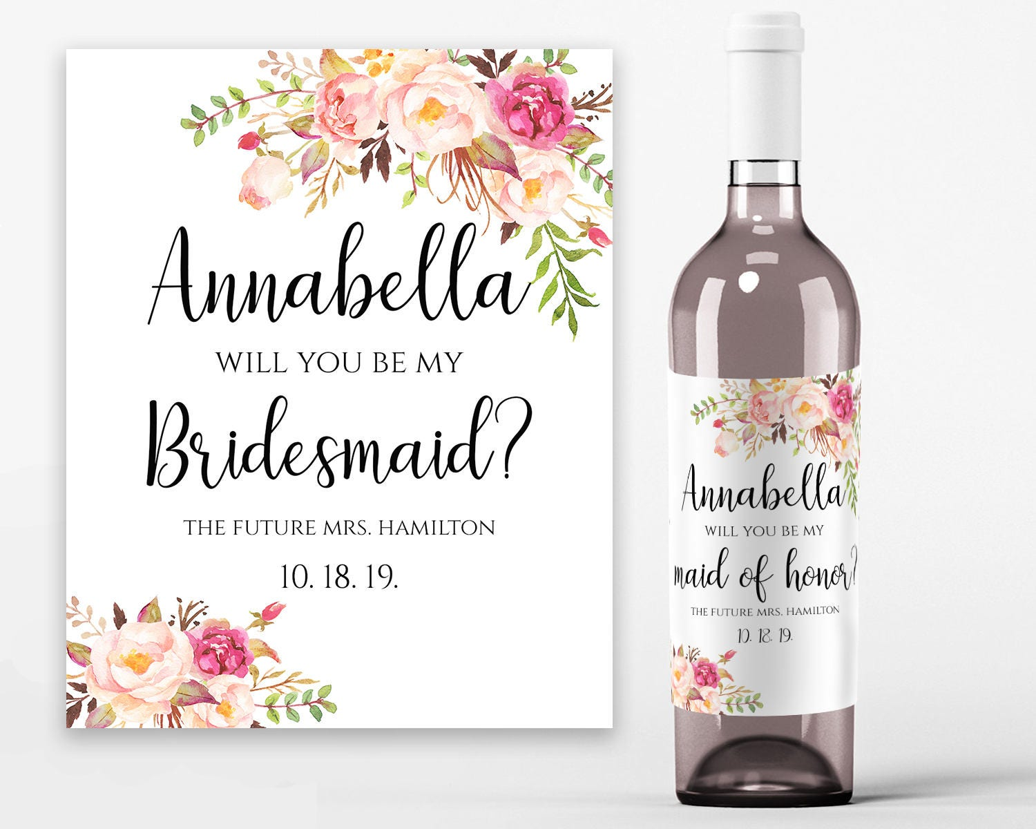 Will you be my bridesmaid wine label printable wine bottle for Will you be my bridesmaid wine label template