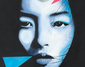 A2 size 'China Girl' David Bowie inspired Giclee Artist Signed Limited Edition Print #1 of 25 by the artist John 'josimo'Paterson