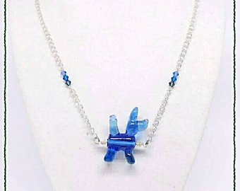 Dog Lover Blue Necklace - Balloon Animal Glass SRAJD
