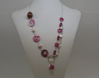 Multi-Strand Pink Beaded Statement Necklace