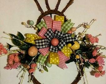 Grapevine Bunny Wreath, Spring Wreath, Easter Wreath, Easter Egg Wreath, Easter Bunny Wreath, Front Door Wreath, Door Decor, Spring Decor