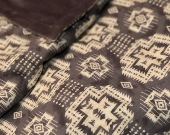 Gray minky & Flannel baby blanket