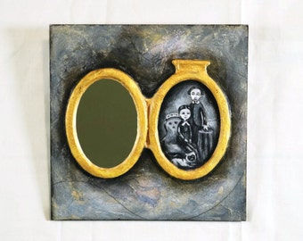 Wall mirror, Hand painted mirror. Decoupaged wood framed mirror. Wood framed decorative mirror. Mirror wall decor. Family portrait pendant
