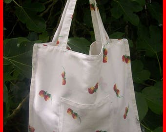 Small white Strawberry country style tote bag.