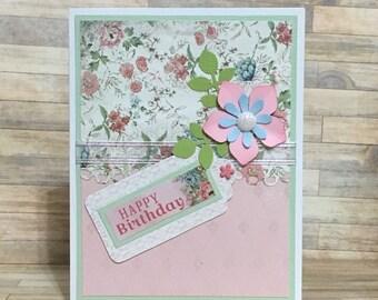 Greeting card, handmade card, birthday card, occasion card, pink, flower design,