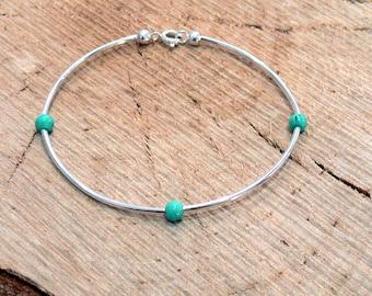 Turquoise Silver Stacker Bracelet