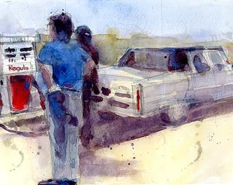 Original Print  OR Original Watercolor -  Mobil Gas Somewhere west
