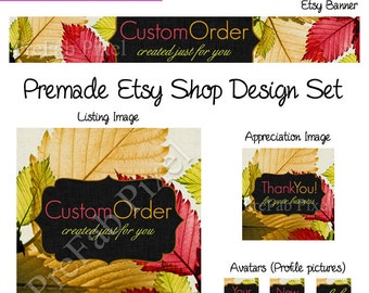 Etsy Banner Fall, Autumn Etsy Cover, Thanksgiving Shop Banner, Premade Etsy Design Set, Leaf Etsy Banner, Shop Icons, Fall Etsy Banner Set
