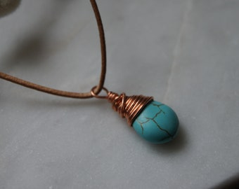 Copper wrapped turquoise briolette necklace