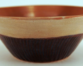 Wheel Thrown Pottery Bowl Blue Gray Sienna Cereal Soup Sm Serving OOAK Hand Made
