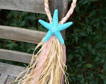 Painted Starfish Chair Decoration, Beach Aisle Decor, Destination Wedding, Starfish Wedding, Pew Decoration, Wedding Aisle