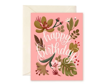 Tropical Plants Birthday Card - Coral