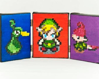 Legend of Zelda Pixel Painting Triptych 3x4 inches each
