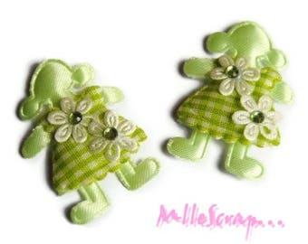 Set of 5 girls fabric green embellishment scrapbooking *.