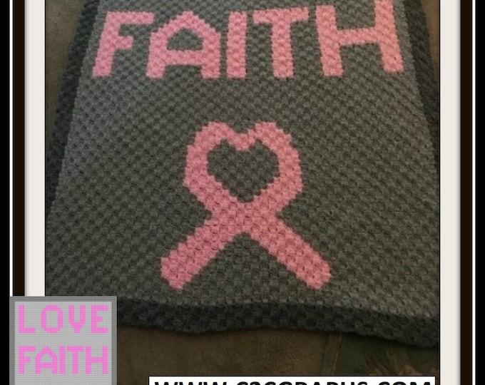Featured listing image: Love Faith C2C Graph, Love Faith Corner to Corner, Crochet Pattern, C2C Graph