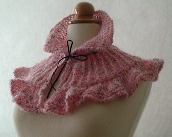 Neck Warmer Pink Ribbed Ruffled with a Suede Ribbon Clearance Sale 50% off