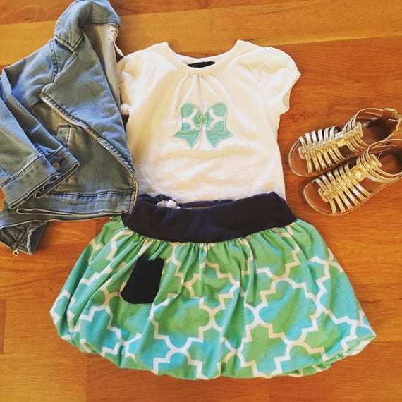 girls clothes set mint green and navy blue, 3t girls ready to ship play skirt, twirl skirt, RTS girls party outfit, summer girls clothes