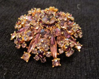 vintage rhinestone brooch amazing pink clear and ruby colored stones gorgeous