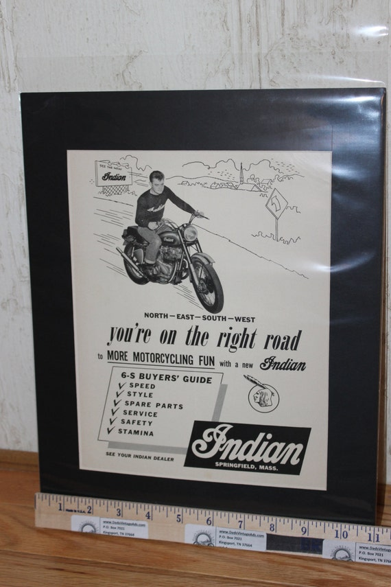 "1955 Indian - You're on the Right Road - 11"" x 14"" Matted Motorcycle Ad Art #t55fa13m"