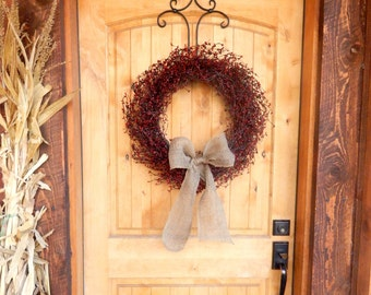 Fall Door Wreath-Scented Wreaths-CRANBERRY-COUNTRY RED & Burgundy Wreath-Rustic Wreath-Fall Wreath-Primitive Home Decor-Housewarming Gift