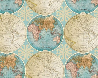 Globe map fabric etsy studio vintage globes cotton fabric by the yarddavid textilesfree shipping availablemap fabricworld fabricworld mapvintageyour fleece gumiabroncs Image collections
