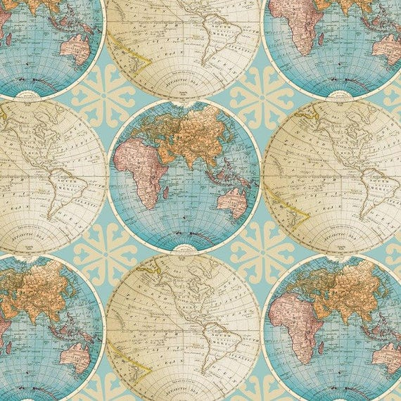 Vintage globes cotton fabric by the yarddavid textilesfree vintage globes cotton fabric by the yarddavid textilesfree shipping availablemap fabricworld fabricworld mapvintageyour fleece gumiabroncs Gallery