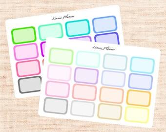 Half Boxes Functional Basics (matte planner stickers, Erin Condren, Happy Planner)