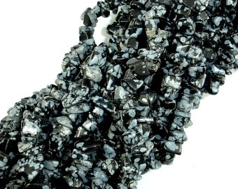 Snowflake Obsidian, 4-7mm Chips Beads, 35 Inch, Long full strand, Hole 0.8 mm (410005001)