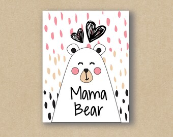 Mama Bear - Mother's Day Card - Mother's Birthday Card - Greeting Card