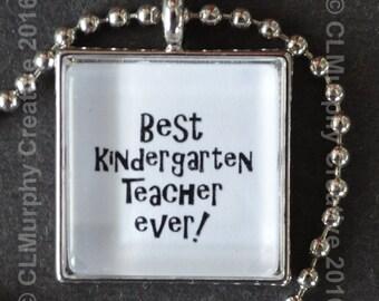 Teacher Gift Necklace Pendant Best Teacher Award Pendant Necklace Kindergarten Teacher Gift C L Murphy Creative CLMurphyCreative