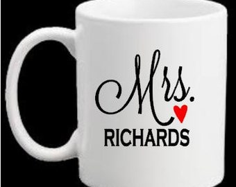 Personalized Mr and Mrs Coffee Mug Decals, Custom DIY Wedding Coffee Cup Decal- Mugs NOT Included