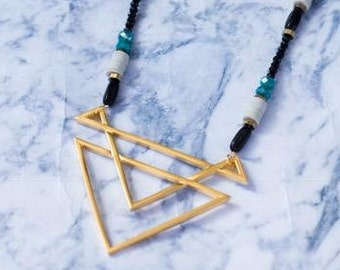 long beaded necklace, big geometric shape necklace,  colorful necklace, statement jewelry, gift for her, geometric metal pendant necklace