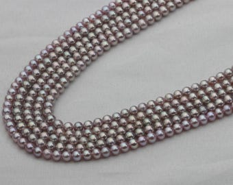 3-4mm Small Purple Pearl Strand, Tiny Round Lavender Freshwater Cultured Pearl Strand, AAAA quality, TOP GEM
