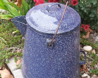Vintage Blue  Enamelware Coffee Pot