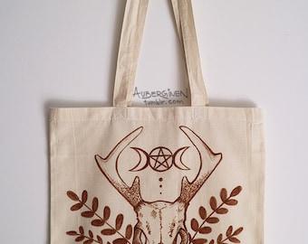 Deer Skull Magic*HAND-PAINTED tote bag
