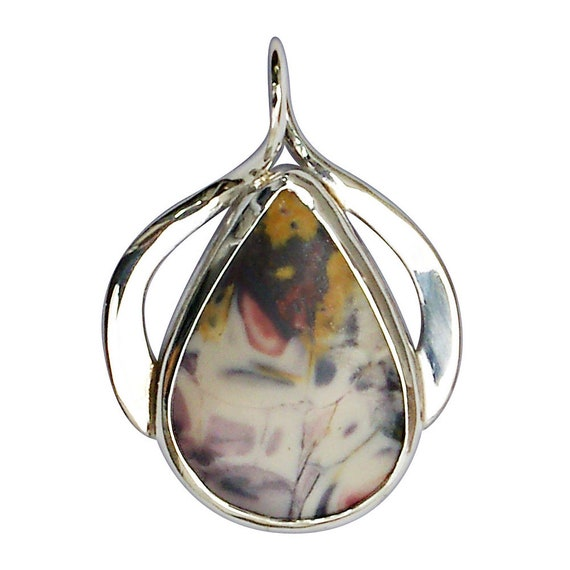 Pendants, Porcelain Jasper Pendant Set in Sterling Silver  pporf2969